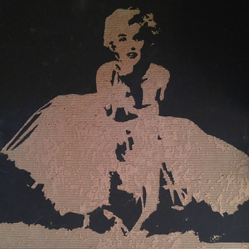 Never do celebrity art (4' X 4' cardboard relief) $150